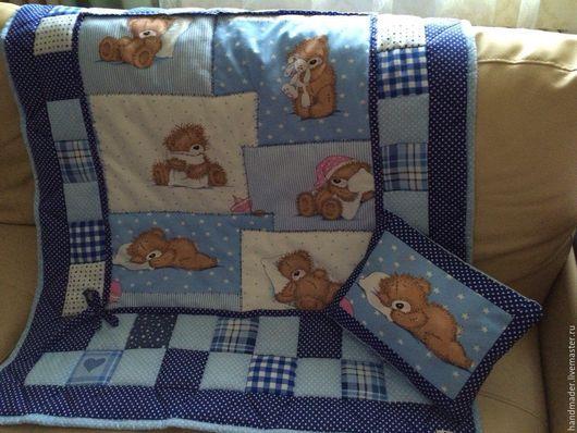 """Детская ручной работы. Ярмарка Мастеров - ручная работа. Купить Комплект в детскую кроватку"""" Мишки Тедди"""". Handmade. Голубой"""
