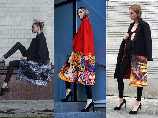 Пальто с авторским принтом из коллекция `Свобода шика` IVUSHKA. В наличии 2 модели черных пальто и 1 модель красного пальто все с разными принтами. По всем вопросам в  WhatsUpp 89853013177