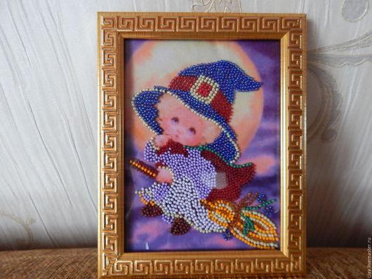 Детская ручной работы. Ярмарка Мастеров - ручная работа. Купить Вишитая картина из бисера. Handmade. Тёмно-фиолетовый, красивый подарок