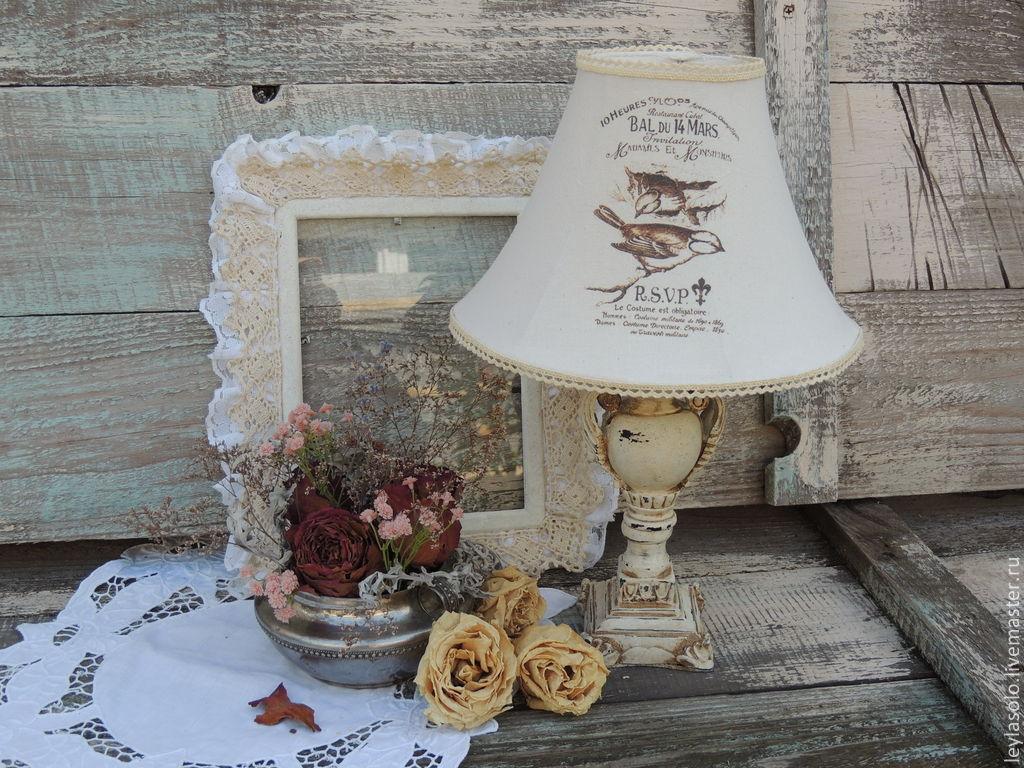 Светильник на тумбочку или столик Воробьи и прованс, Потолочные и подвесные светильники, Таганрог,  Фото №1