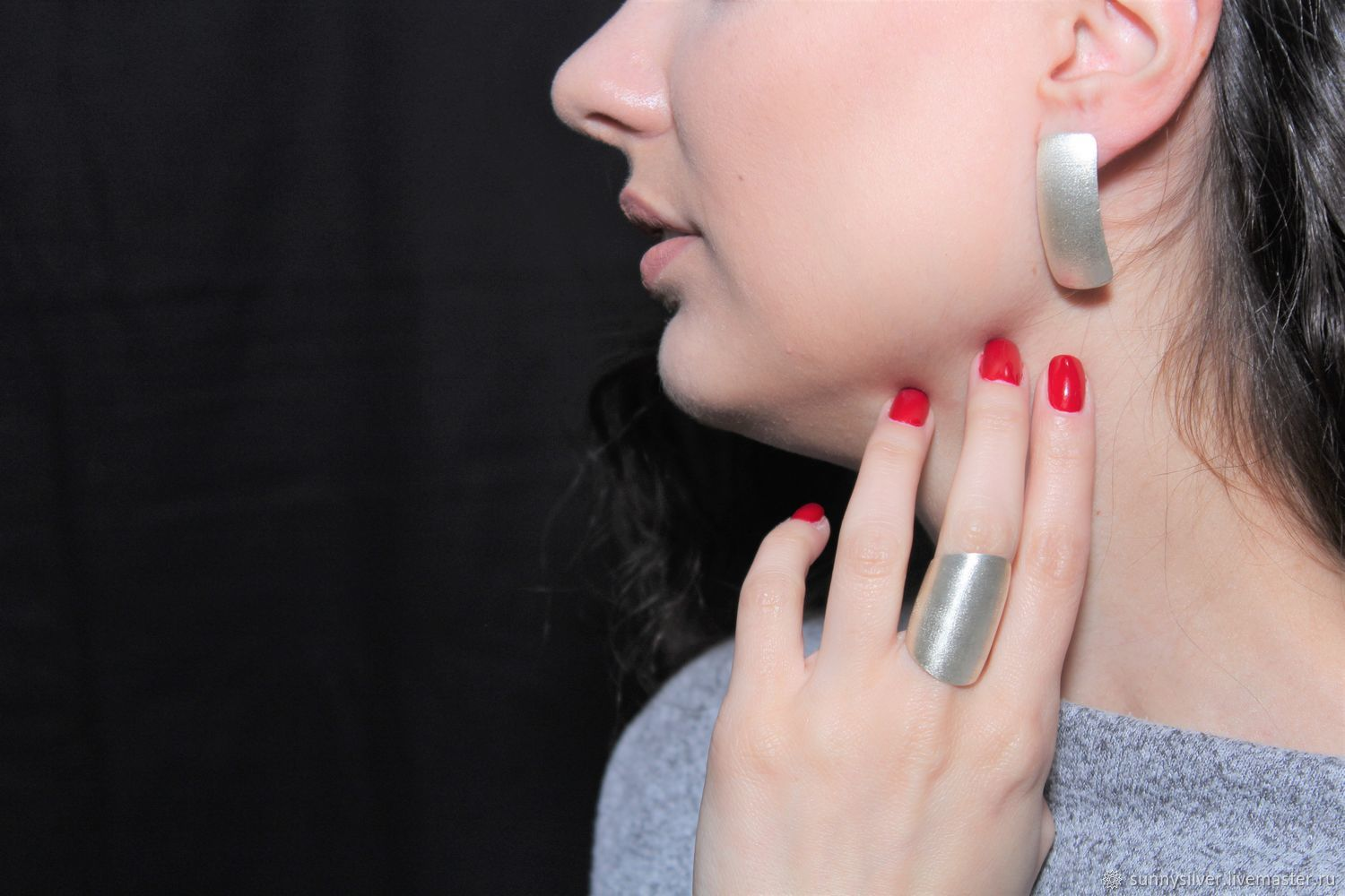 Minima Series Arc Ring and earrings in brushed silver, Jewelry Sets, Yerevan,  Фото №1