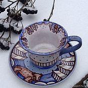 """Подарки к праздникам ручной работы. Ярмарка Мастеров - ручная работа Керамическая чашка с блюдцем """"Чашка с мишкой""""- подарок на любой случай. Handmade."""