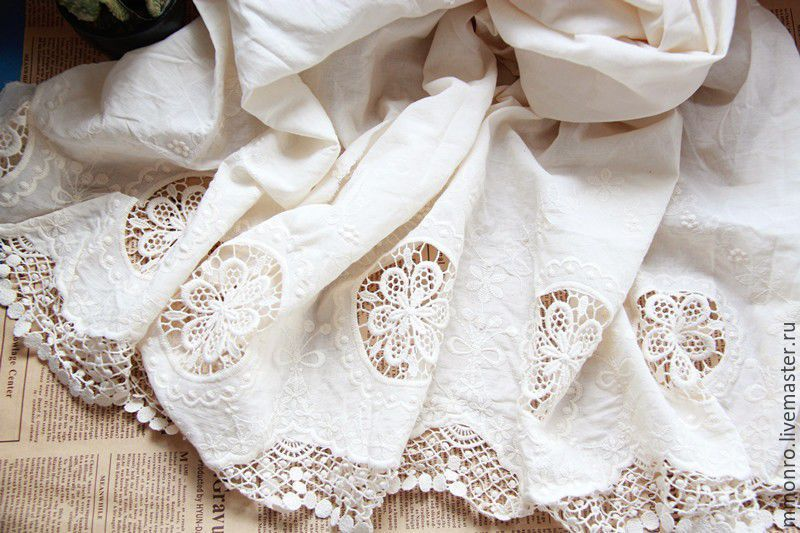 Fabric lace embroidery 100% cotton, Lace, Podolsk,  Фото №1