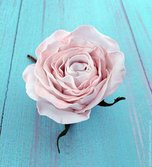 Свадебные украшения ручной работы. Ярмарка Мастеров - ручная работа. Купить Заколка - роза. Handmade. Бледно-розовый, роза, цветы