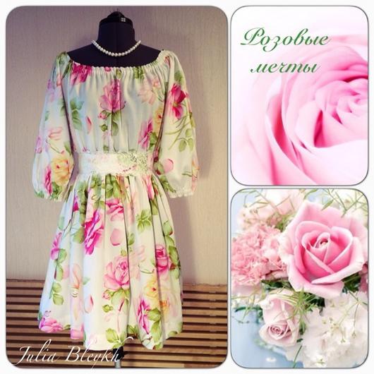 """Платья ручной работы. Ярмарка Мастеров - ручная работа. Купить Платье """"розовые мечты"""" короткое. Handmade. Платье, розы"""