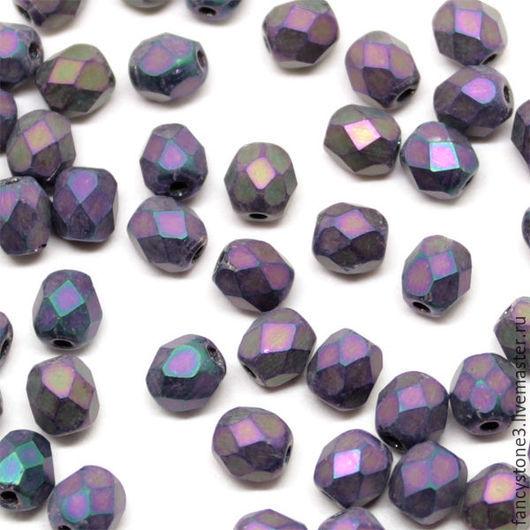 Для украшений ручной работы. Ярмарка Мастеров - ручная работа. Купить 50шт 4мм Чешские граненые бусины Матовый ирис Fire polished beads. Handmade.