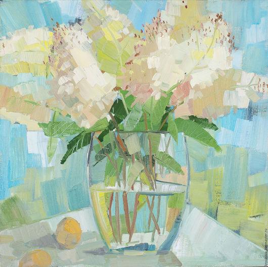 Гортензия гортензии Летние цветы картина маслом Купить картину гортензии Абрикос Лето букет в подарок Картина лето маслом