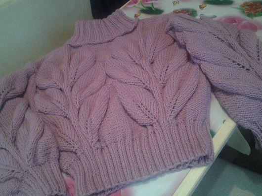 Кофты и свитера ручной работы. Ярмарка Мастеров - ручная работа. Купить Кофточка с мега листьями. Handmade. Бледно-розовый