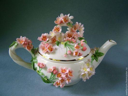 Чайники, кофейники ручной работы. Ярмарка Мастеров - ручная работа. Купить Чайник  Сакура. Handmade. Розовый, фарфоровый чайник, фарфор