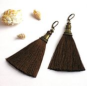 Украшения handmade. Livemaster - original item Earring of the brush Chocolate brown silk long thick. Handmade.