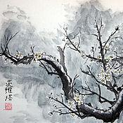 Картины и панно ручной работы. Ярмарка Мастеров - ручная работа Слива во мгле Китайская живопись. Handmade.