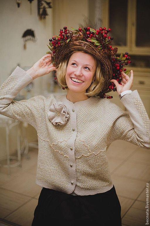 """Пиджаки, жакеты ручной работы. Ярмарка Мастеров - ручная работа. Купить Жакет женский шерстяной"""" Шанель.....""""-войлок. Handmade."""