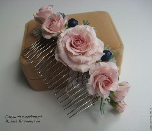 Заколки ручной работы. Ярмарка Мастеров - ручная работа. Купить Гребень с розами в прическу. Handmade. Бледно-розовый, гребень в прическу