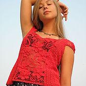 Одежда handmade. Livemaster - original item Lace Top Red planet Irish Crocheted lace. Handmade.
