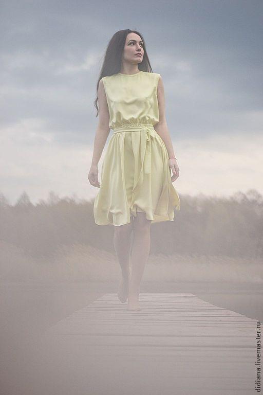 Платья ручной работы. Ярмарка Мастеров - ручная работа. Купить Шелковое платье Фисташка. Handmade. Салатовый, женское платье