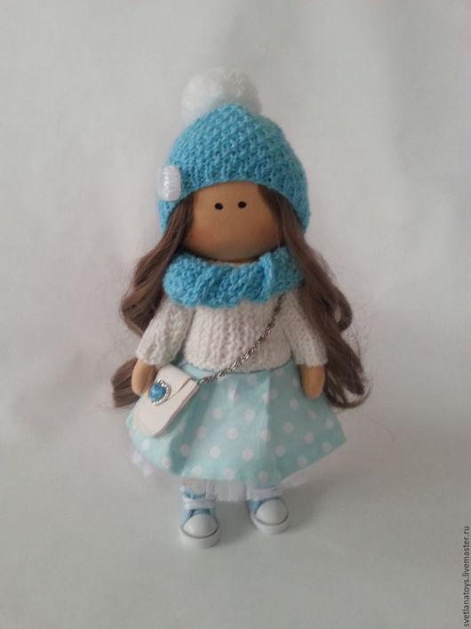 Куклы тыквоголовки ручной работы. Ярмарка Мастеров - ручная работа. Купить интерьерная кукла. Handmade. Бирюзовый, подарок на новый год, трикотаж