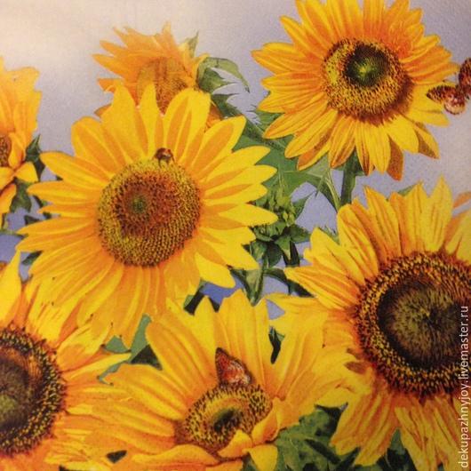 Подсолнухи солнечные - салфетка для декупажа Декупажная радость