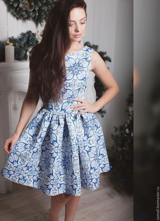 Блузки ручной работы. Ярмарка Мастеров - ручная работа. Купить Платье гжель. Handmade. Голубой, платье, Платье нарядное