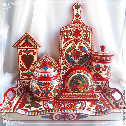 Декоративный деревянный расписной набор посуды для кухни.Посуда декоративная.Кухонная утварь.Кухонный интерьер.