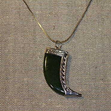 """Винтаж ручной работы. Ярмарка Мастеров - ручная работа Винтажный кулон """"Зелень"""" на цепочке натуральный камень. Handmade."""