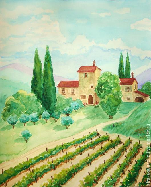 """Пейзаж ручной работы. Ярмарка Мастеров - ручная работа. Купить Акварель """"Виноградники Тосканы"""". Handmade. Разноцветный, пейзаж, иллюстрация, тоскана"""