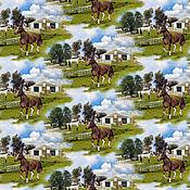 Ткани ручной работы. Ярмарка Мастеров - ручная работа Мир лошадей. Хлопок панель 60х110 см. Handmade.