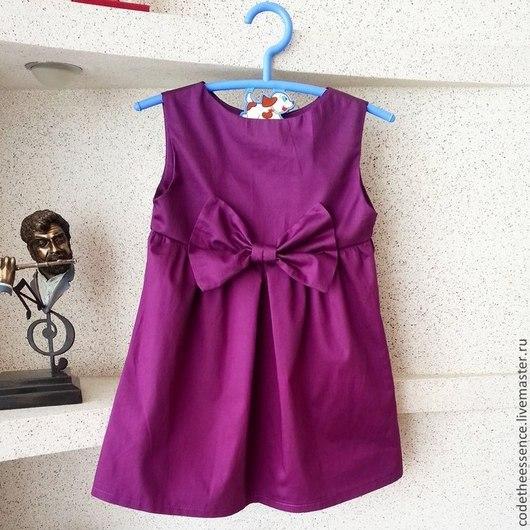 Одежда для девочек, ручной работы. Ярмарка Мастеров - ручная работа. Купить Хлопковое платье с бантом. Handmade. Бордовый, хлопковое платье