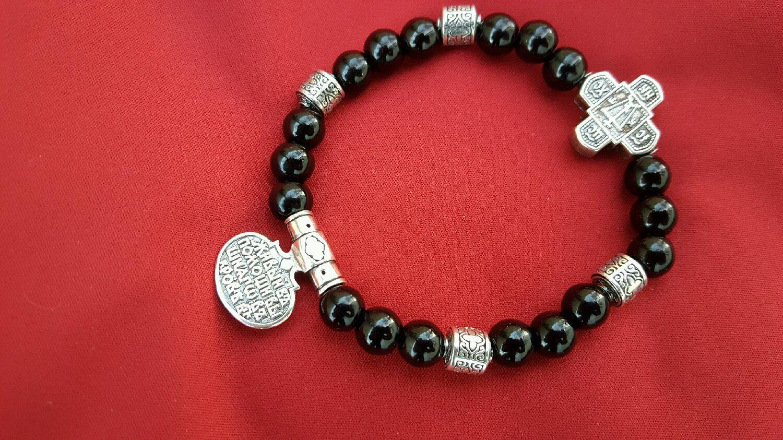 Браслет серебро с  бусинками чёрного агата