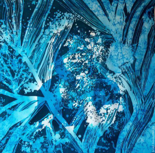 """Шали, палантины ручной работы. Ярмарка Мастеров - ручная работа. Купить Батик платок шелковый """"Зимний лес"""". Handmade. Голубой"""