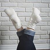 Аксессуары ручной работы. Ярмарка Мастеров - ручная работа Носки женские Lussien Socks white. Handmade.