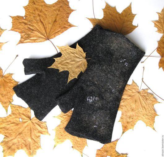 """Варежки, митенки, перчатки ручной работы. Ярмарка Мастеров - ручная работа. Купить Митенки """"Фея леса"""". Handmade. Темно-серый"""