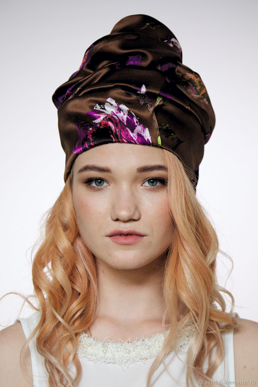 8e1288b9792 My Livemaster Hats handmade. Turban hat hijab millinery Brown with flowers. TURBAN  SVS. My Livemaster