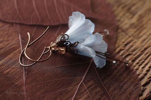 """Серьги ручной работы. Ярмарка Мастеров - ручная работа. Купить Серьги """"Волшебные цветы"""" голубые. Handmade. Голубой, винтаж"""
