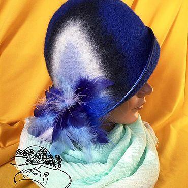 Аксессуары ручной работы. Ярмарка Мастеров - ручная работа Шляпы: тёмно-синяя с перьями. Handmade.