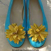 """Обувь ручной работы. Ярмарка Мастеров - ручная работа Замшевые балетки """"Бирюза и солнце"""". Handmade."""