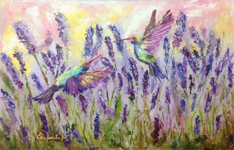 Oil painting / hardboard Hummingbird in lavender, Pictures, Belgorod,  Фото №1