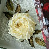 """Украшения ручной работы. Ярмарка Мастеров - ручная работа Заколка-роза """"Вивьен"""". Цветы из шелка, желтая роза из шелка. Handmade."""