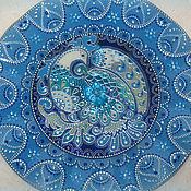 Синяя Птица Декоративная тарелочка с витражной росписью на диске