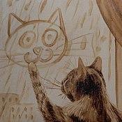 """Картины и панно ручной работы. Ярмарка Мастеров - ручная работа Кофейная картина """"Автопортрет кота"""". Handmade."""