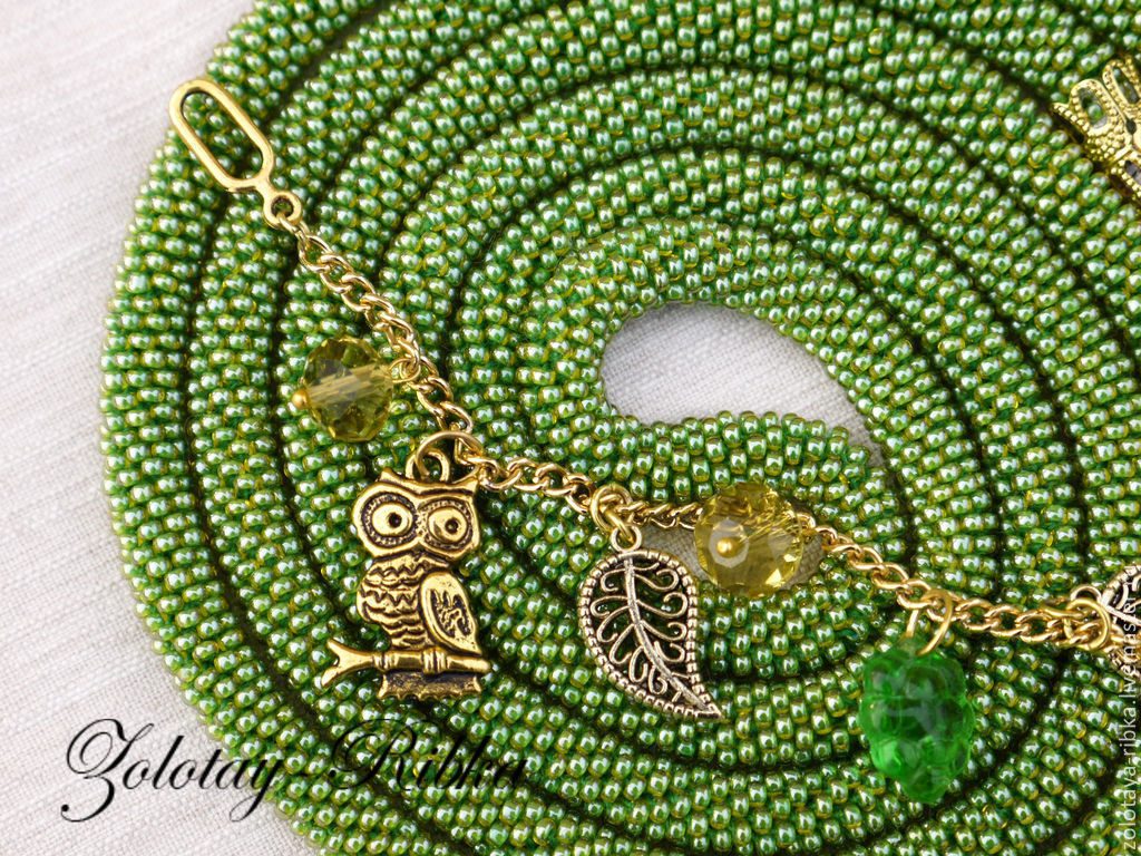 Handmade jewelry. Lariat Owl Keeper of the forest the harness of beads. Jewelry from Gold fish. Fair masters
