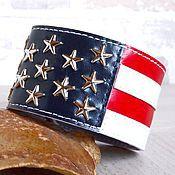 """Браслет жесткий ручной работы. Ярмарка Мастеров - ручная работа Браслет из натуральной кожи """"Американский флаг"""".. Handmade."""