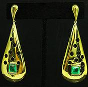 Украшения handmade. Livemaster - original item 14K Natural Emerald Yellow Gold Dangle Earrings, Solid Gold Emerald Ea. Handmade.