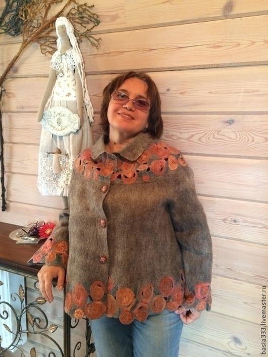 Пиджаки, жакеты ручной работы. Ярмарка Мастеров - ручная работа. Купить Жакет Барышня - крестьянка. Handmade. Бежевый, розы из шелка