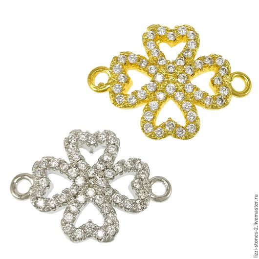 Коннектор Клевер маленький серебро и золото (Milano) Евгения (Lizzi-stones-2)