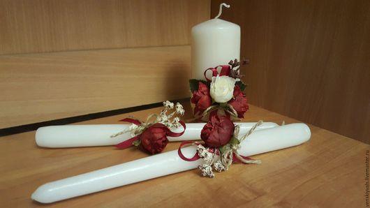 """Свадебные аксессуары ручной работы. Ярмарка Мастеров - ручная работа. Купить Свадебные свечи - Семейный очаг """"Пионовый шлейф"""". Handmade."""