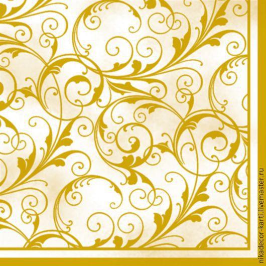Декупаж и роспись ручной работы. Ярмарка Мастеров - ручная работа. Купить Золотые завитки (SLOG001702) - салфетка для декупажа. Handmade. Разноцветный