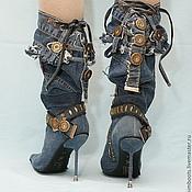 """Обувь ручной работы. Ярмарка Мастеров - ручная работа Скидка!!! Сапоги джинсовые """"Индиго"""" на шпильке. Handmade."""