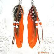 Украшения handmade. Livemaster - original item Orange earrings made of feathers Hathor. Handmade.