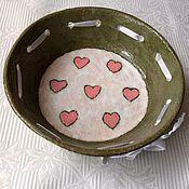 """Посуда ручной работы. Ярмарка Мастеров - ручная работа Миска """" С сердечками"""". Handmade."""
