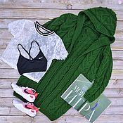 Кардиганы ручной работы. Ярмарка Мастеров - ручная работа Кардиганы: Женский вязаный кардиган с капюшоном в цвете зелени. Handmade.